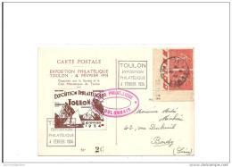 Carte Exposition Philatelique Toulon 1934  Avec Vignette Draim Et Semeuse - France