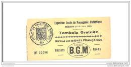 Ticket D'entrée Tombola Exposition Philatelique Beziers 1936 - Covers & Documents