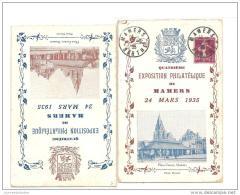 2 Cartes Exposition Philatelique Mamers 1935 Dont Une A Destination Du Mexique - France