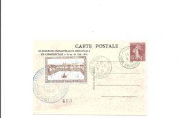Entier Postal 15 C Semeuse  Exposition Philatelique Charleville 1931  Avec Vignette - Entiers Postaux