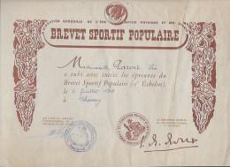 Brevet Sportif Populaire 1947 - Diplômes & Bulletins Scolaires
