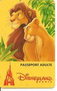PASS--DISNEY-DISNEYLAND PARIS-1996-ROI LION ADULTE-Non Souligné-V° S089537-Vertical A Droite-TBE-RARE - Pasaportes Disney