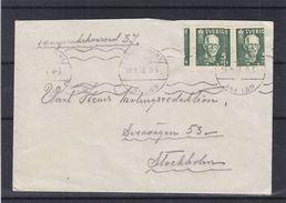 Suède - Lettre De 1938 - Oblit Stockholm - Exp Vers Stockholm - Avec 2 Timbres Rouleaux Mal Découpés - Cartas
