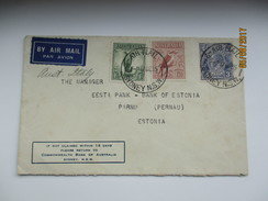 1935 AUSTRALIA SYDNEY COMMONWEALTH BANK COVER TO ESTONIA  ,0 - 1913-36 George V : Other Issues