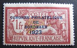 LOT DF/460 - CONGRES PHILATELIQUE DE BORDEAUX 1923 - N°182 NEUF* (QUASI NEUF**) Cote : 575,00 € - France