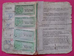 Carte De Chasse 5 Timbres Fiscaux RARES Sur Document Permis National 1962-1963-1964-1965-1966 Dos Scanné - Fiscaux