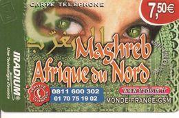 CARTE PREPAYEE-IRADIUM-7.5€-31/12/2015-V° ACCES BOX-MAGHREB-AFRIQUE NORD-YEUX DE VISAGE VOILEE-T BE - Autres Prépayées