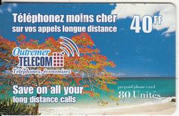 REUNION & FRENCH CARRIBEAN - Beach, Outremer Telecom Prepaid Card 40 FF, Used - Reunion
