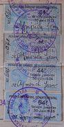 Carte De Chasse 4 Timbres Fiscaux RARES Sur Document Permis Départemental 1932-1933-1934-1935 Perpignan Dos Scanné - Revenue Stamps