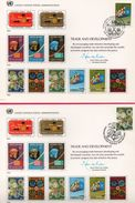 3 Encarts - FDC - United Nations P. A. - Trade And Development - Genève - Wien - New York 1983 - APNU - Emissions Communes New York/Genève/Vienne