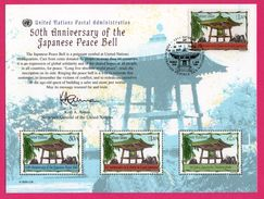3 Encarts - FDC - United Nations Postal Admin. - Cloches - 50th Anniversary Of The Japonese Peace Bell - Wien 2002 - Collezioni & Lotti