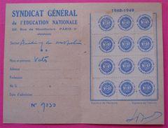 Carte De 1948-1949 Syndicat Général De L'Education Nationale Avec Timbres CISC Paris Erinnophilie  Dos Scanné - Revenue Stamps