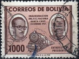 BOLIVIA 1957 Yacuiba-Santa Cruz Railway Inauguration - 1000b Steam Train And Presidents Of Bolivia And Argentina FU - Bolivia