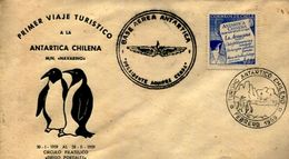 PRIMER VIAJE TURISTICO A LA ANTARTICA CHILENA BASE AEREA 2 SOBRES  ZTU. - Chile