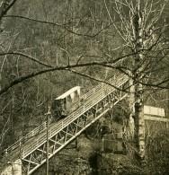 Autriche Salzbourg Le Funiculaire De La Forteresse Festung Ancienne Stereo Photo NPG 1900 - Stereoscopic