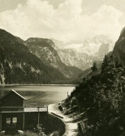 Autriche Salzkammergut Gosausee Dachstein Ancienne Stereo Photo Photochrom 1900 - Stereoscopic