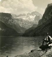 Autriche Gosausee Lac Vue De Dachstein Ancienne Stereo Photo Wurthle 1900 - Stereoscopic