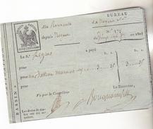 10 Nogent Sur Seine - Navigation. Quittance Du Bureau De Nogent Avec Timbre Fiscal Préimprimé 5 Centimes Aigle 1808. - Marcophilie (Lettres)