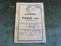 Single Ticket London To Paris (Nord) Via Dover-Calais 1st Class 1947 - Tiquetes De Barcos