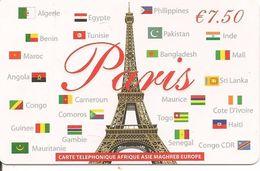 CARTE PREPAYEE-PARIS-7.5€-AFRIQUE.ASIE.MAGHREB.EUROPE-31/12/2015-V°ECRIT NOIR-T BE - Francia