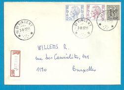 1518+1584+1587 Op Brief Aangetekend Met Sterstempel (Relais) * ST-VINCENT * Met Aantekenstrook TINTIGNY - 1970-1980 Elström