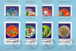 Apollo 11-17 Kosmos 1972 Qiwain A-H Block 95 O 40€ Imperforiert USA-Raumfahrt Blocs Ms Space-ships Ss Sheets Bf VAE - Spazio