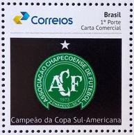 BRAZIL 2017 Chapecoense Team Football Soccer Barcelona New Brazilian Post Logo PB 57 - Brasil