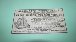 """NOUVEAU BRIQUET """" ALLUMETTE PERPETUELLE """" - FABRICANT J. FORMERY A MORHANGE ( Moselle )  - PUBLICITE DE 1925. - Reclame"""