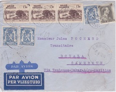 LETTRE 1939 D' EMBOURG  BELGIQUE POUR CORRESPONDANCE POUR DOUALA CAMEROUN  VIA TOULOUSE DAKAR  AERO MARITIME CAD - WW II