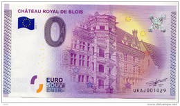 2015-1 BILLET TOURISTIQUE 0 EURO SOUVENIR N° 001028 CHATEAU ROYAL DE BLOIS - Private Proofs / Unofficial