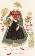 Costume Fashion Of Bretagne, Woman Dress Light Felt Material Attached To C1940s/50s Vintage Postcard - Fashion