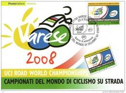 B 1441 - Sport, Ciclismo, Mondiali Varese 2008, Annullo, Cartolina Maximum - Cyclisme