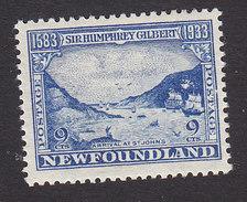 Newfoundland, Scott #219, Mint Hinged, The Ships Arriving At St John's, Issued 1933 - Terre-Neuve