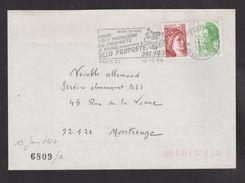 Flamme Dpt 75 : PARIS 01 (SCOTEM N°  6809a émise Le 13/06/84) : Allo Propreté - Marcophilie (Lettres)