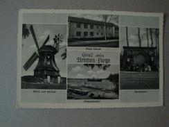 Gruss Aus Bremen - Farge, 4 Ansichten, Neue Schule, Ehrenmal, Strand, Mühle, Gelaufen 1958 - Bremen