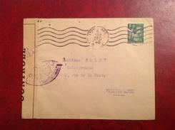 Censure Lyon Gare Pour Villeurbanne 1940 - Marcophilie (Lettres)