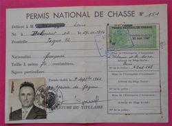 Carte De Chasse Avec Timbre Fiscal Sur Document Permis National Valable Jusqu'au 30 Juin 1967 Dos Scanné - Revenue Stamps