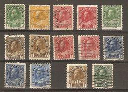 Canada - 1911/25 -  George V - Petit Lot De 14 Timbres° - Vrac (max 999 Timbres)
