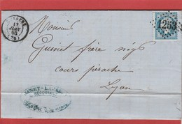 Saône Et Loire - Cuisery - GC1253 Sur N°22 - LAC Juin 1866 - Marcophilie (Lettres)