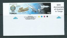 Tonga 1989 Aviation & Planes $3 Balloon To Space Shuttle Imperforate Plate Proof MNH - Tonga (1970-...)