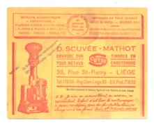 BUVARD Publicitaire Gravure D. SCUVEE - MATHOT à  LIEGE, Tampon, Dateur,  Timbre Caoutchouc,... (b211) - Buvards, Protège-cahiers Illustrés
