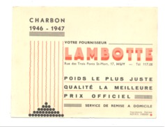 BUVARD Publicitaire - Charbon LAMBOTTE à HUY 1946/47. (b211) - Blotters