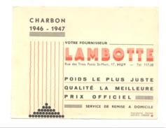 BUVARD Publicitaire - Charbon LAMBOTTE à HUY 1946/47. (b211) - Carte Assorbenti