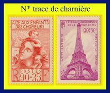 N° 428 429 AIDE AUX ENFANTS DE CHÔMEURS + CINQUANTENAIRE TOUR EIFFEL 1939 - N* TRACE DE CHARNIÈRE - France