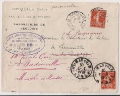 REEXPEDITION Avec 10c SEMEUSE, NANCY . GARE Meurthe Et Moselle PUIS DAGUIN NANCY Pour BODONVILLER. - Postmark Collection (Covers)