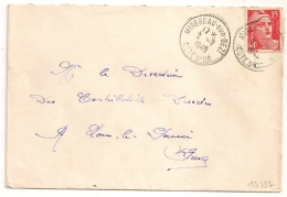 MIREBEAU SUR BEZE Cote D'Or Sur 15F GANDON. 1949. - Marcophilie (Lettres)