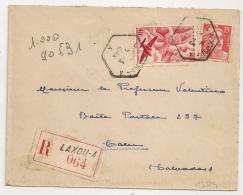 HEXAGONAL LAXOU - A Meurthe Et Moselle Sur Enveloppe Recommandée. 1949. - Marcophilie (Lettres)