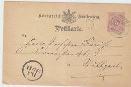 WURTTEMBERG COVER POSTAL CARD 1878 - Wurttemberg