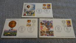 FRANCE FDC 3 Enveloppes 1er Premier Jour NUMISMATIQUE Série BICENTENAIRE AIR ET ESPACE 1983 - Collection Timbre Poste - 1980-1989
