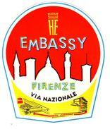 "Etiquette Label Hotel ""Embassy"", Firenze, Italie - Etiquettes D'hotels"